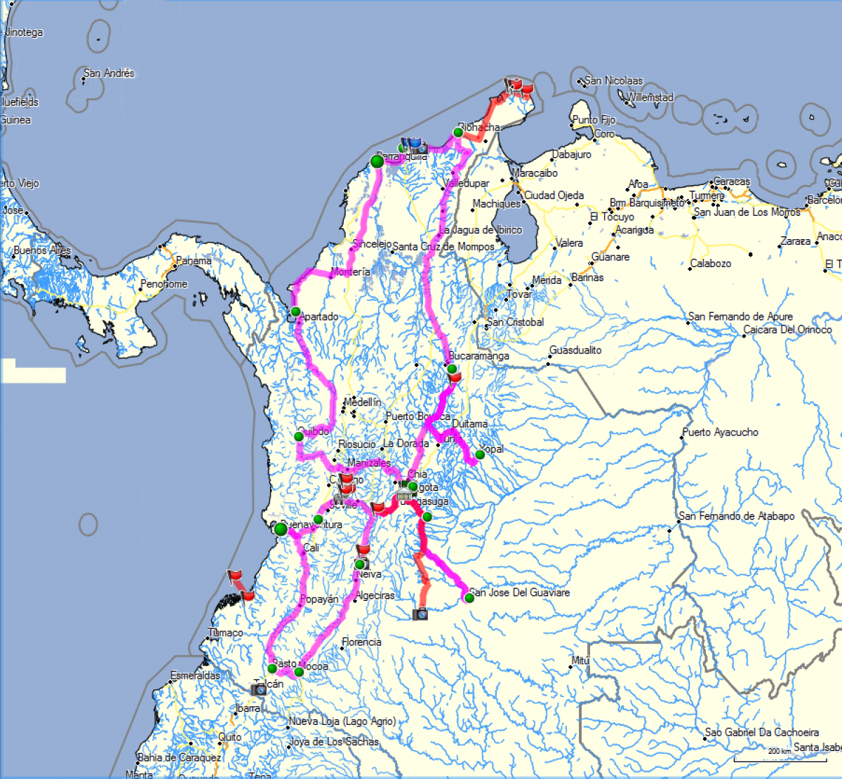 Kolumbien, die vorläufige Route