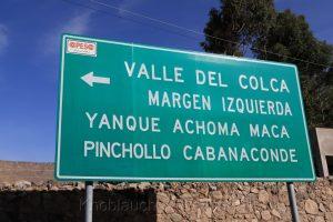 Hinweisschild, Chivay, Anden, Peru