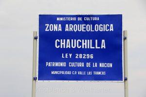 Eingangsschild, Cementario de Chauchilla (Friedhof von Chauchilla), Nazca, Peru